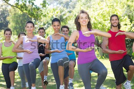 Female trainer instructing women while exercising in the boot camp Stock photo © wavebreak_media