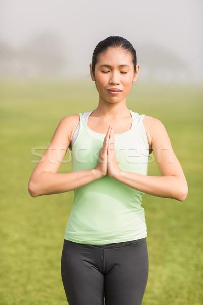 Békés sportos nő jóga fitnessz képzés Stock fotó © wavebreak_media