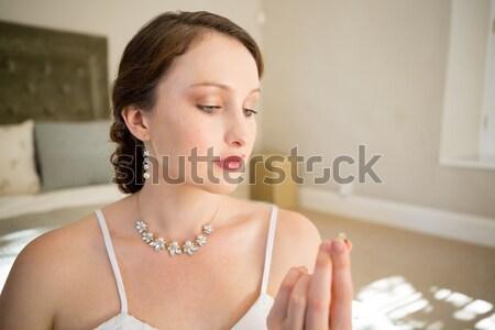 Bella sposa profumo piedi finestra Foto d'archivio © wavebreak_media