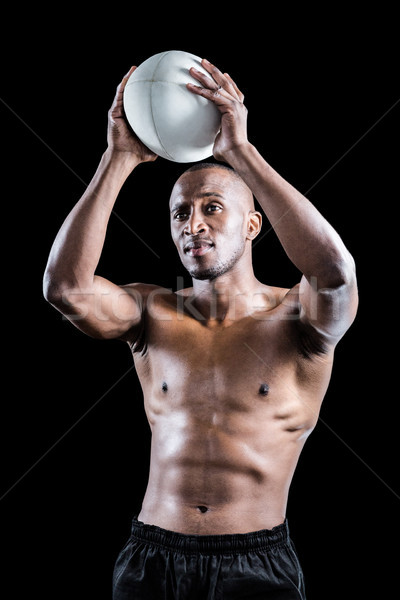 Półnagi sportowiec rugby ball czarny mężczyzna Zdjęcia stock © wavebreak_media