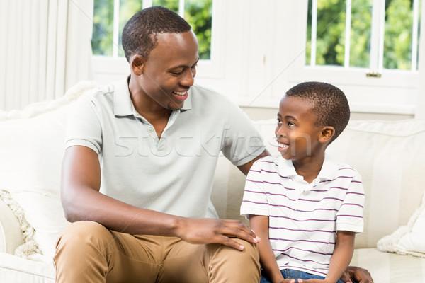 Vater-Sohn Sitzung Couch Wohnzimmer Kind home Stock foto © wavebreak_media