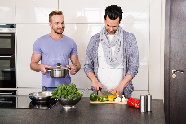Glimlachend homo paar keuken man Stockfoto © wavebreak_media