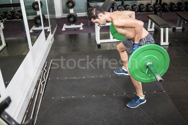 Póló nélkül férfi emel súlyzó tornaterem sport Stock fotó © wavebreak_media