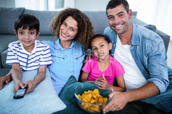 портрет семьи смотрят матча вместе гостиной Сток-фото © wavebreak_media