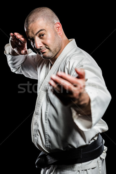 Myśliwiec karate postawa portret czarny Zdjęcia stock © wavebreak_media