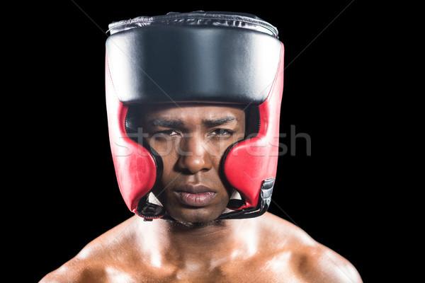 Portre boksör kask siyah erkek yaşam tarzı Stok fotoğraf © wavebreak_media