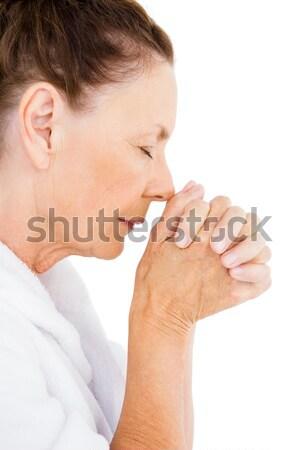 Nyugodt érett nő imádkozik fehér férfi szépség Stock fotó © wavebreak_media