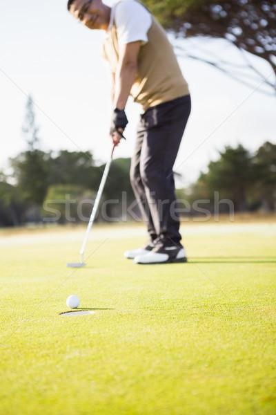 Сток-фото: Focus · передний · план · мяч · для · гольфа · дыра · области · гольф