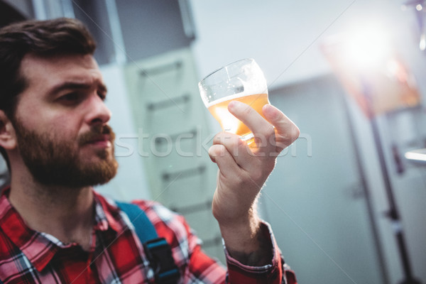 Stock photo: Manufacturer holding beer glass at brewery