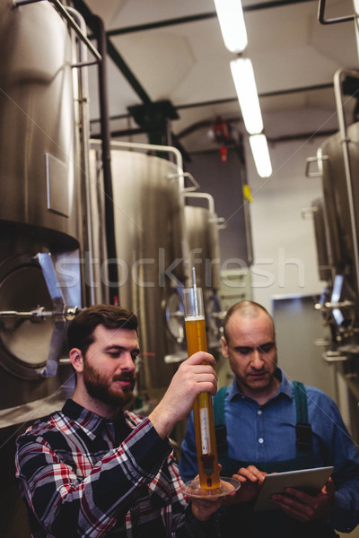Worker and owner inspecting beer at brewery Stock photo © wavebreak_media