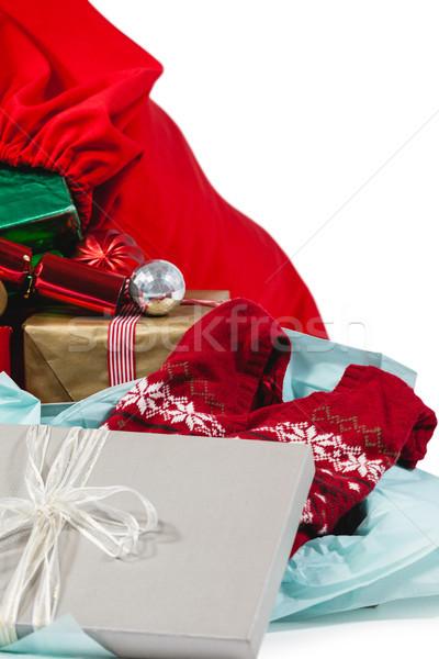Karácsony ajándékok mikulás zsák fehér doboz Stock fotó © wavebreak_media