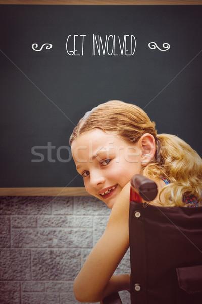 ребенка образование синий портрет классе кирпичных Сток-фото © wavebreak_media