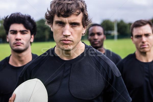 Rugby spelers permanente samen wedstrijd park Stockfoto © wavebreak_media