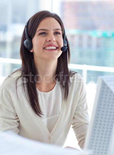 肖像 女性実業家 作業 コールセンター ヘッド コンピュータ ストックフォト © wavebreak_media