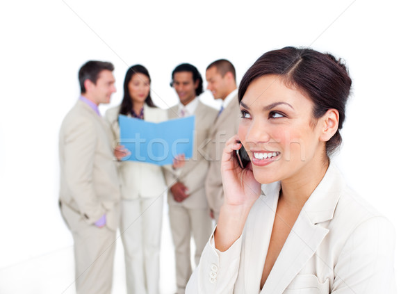 Portré nevet üzletasszony telefon csapat telefon Stock fotó © wavebreak_media