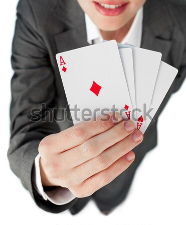 Close-up of a successful hand of cards Stock photo © wavebreak_media