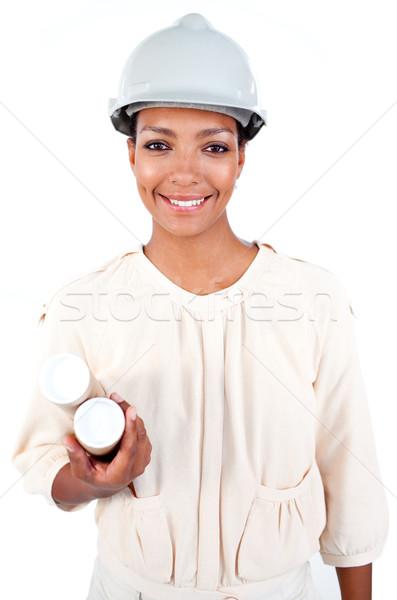 Női építész munkavédelmi sisak izolált fehér üzlet Stock fotó © wavebreak_media