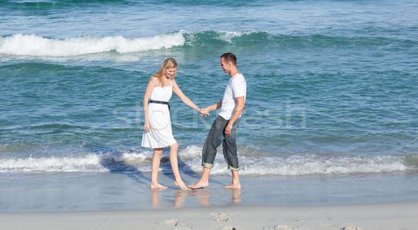Jolly lovers having fun at the seaside Stock photo © wavebreak_media