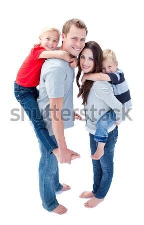 陽気な 家族 ピギーバック 笑顔 幸せ ストックフォト © wavebreak_media