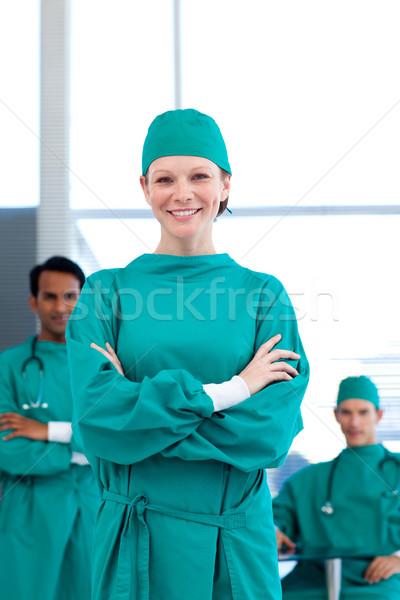 Foto stock: Grupo · médicos · cirúrgico · vestido · hospital