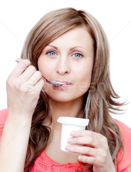 еды йогурт белый продовольствие счастливым Сток-фото © wavebreak_media