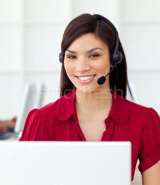 ügyfélszolgálat képviselő headset iroda üzlet nő Stock fotó © wavebreak_media