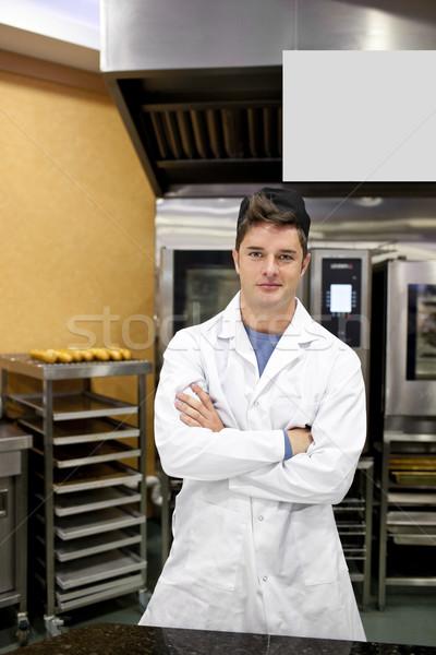 Büszke pék áll konyha görbület karok Stock fotó © wavebreak_media