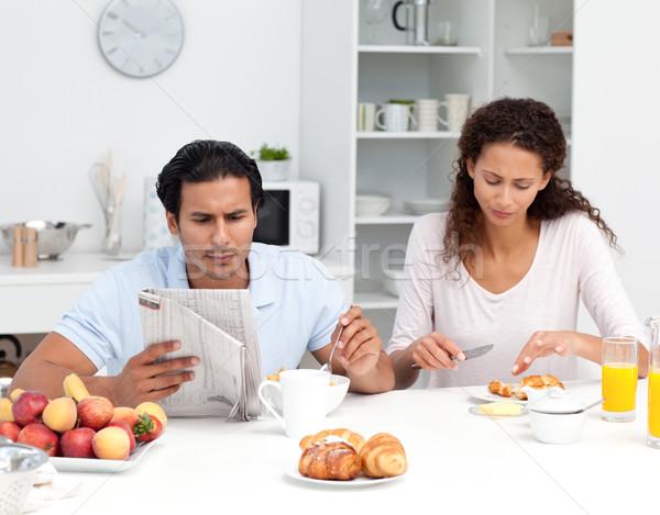 пару еды злаки круассаны вместе кухне Сток-фото © wavebreak_media