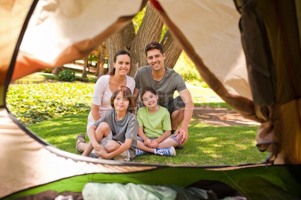 Joyful family camping in the park Stock photo © wavebreak_media