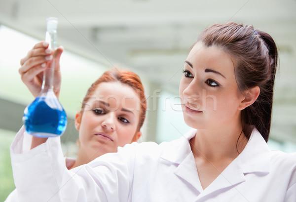 Labor partnerek néz flaska laboratórium nő Stock fotó © wavebreak_media