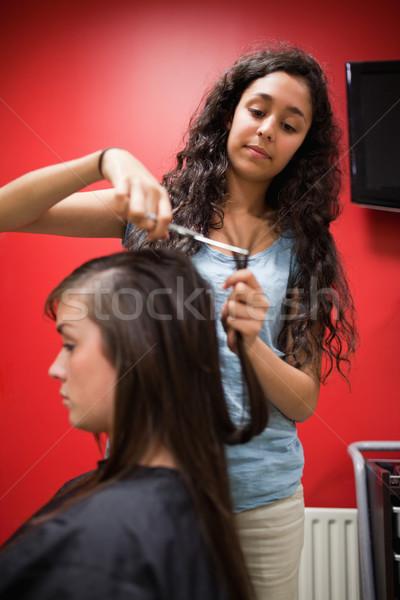 Portret student kapper haren schaar Stockfoto © wavebreak_media