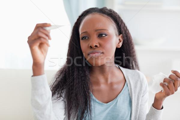 Jeune femme température malade froid Photo stock © wavebreak_media