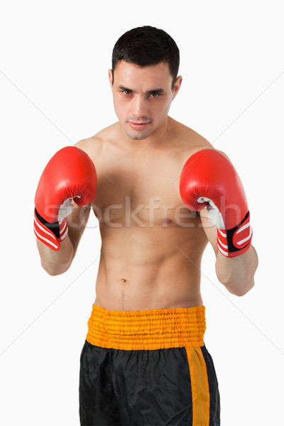 Young boxer in fighting stance against a white background Stock photo © wavebreak_media