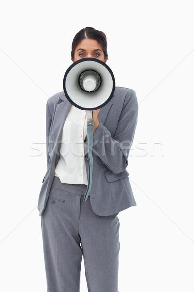 Verkoopster megafoon witte business schreeuw werknemer Stockfoto © wavebreak_media