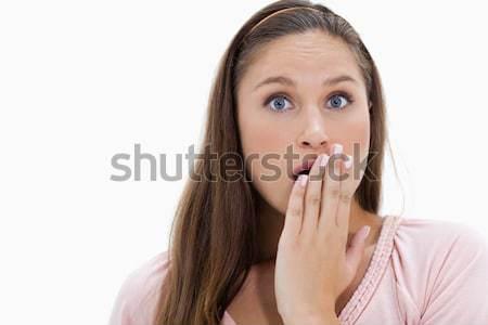 Megrémült lány kéz száj fehér nő Stock fotó © wavebreak_media