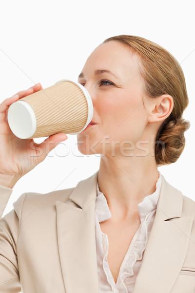 Işkadını takım elbise içme kahve beyaz arka plan Stok fotoğraf © wavebreak_media