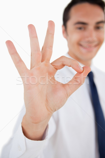 Close-up of a man approving against white background Stock photo © wavebreak_media