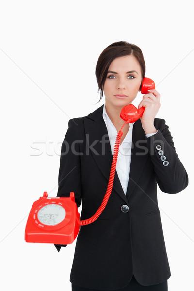 Foto stock: Mulher · de · negócios · vermelho · discar · telefone · branco · feminino