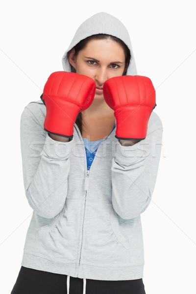 Ernstig brunette bokshandschoenen witte Stockfoto © wavebreak_media