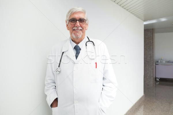 Stok fotoğraf: Mutlu · doktor · duvar · hastane · koridor