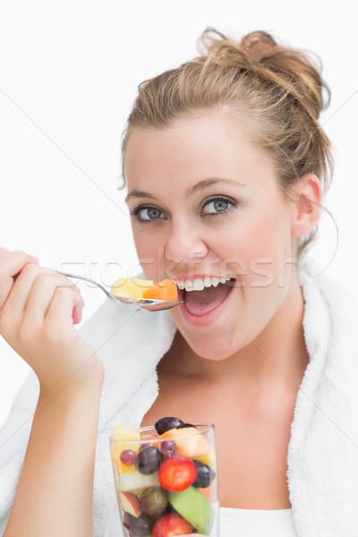 女性 食べ フルーツサラダ 楽しく フィットネス ガラス ストックフォト © wavebreak_media