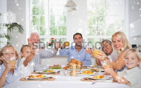 Gelukkig gezin dankzegging diner rond tabel Stockfoto © wavebreak_media