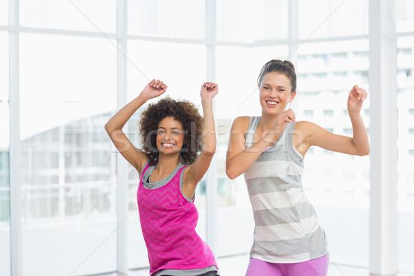 Foto stock: Alegre · encajar · mujeres · pilates · ejercicio · retrato