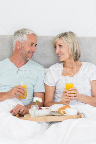 счастливым зрелый пару завтрак кровать портрет Сток-фото © wavebreak_media
