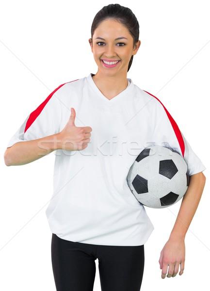 Stock fotó: Csinos · futball · ventillátor · fehér · mosolyog · futball