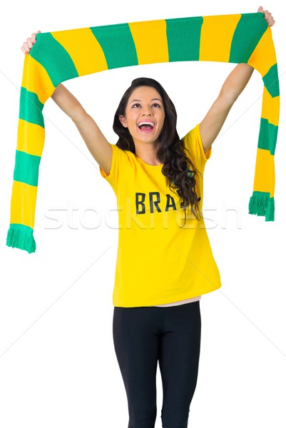 Opgewonden voetbal fan tshirt witte Stockfoto © wavebreak_media