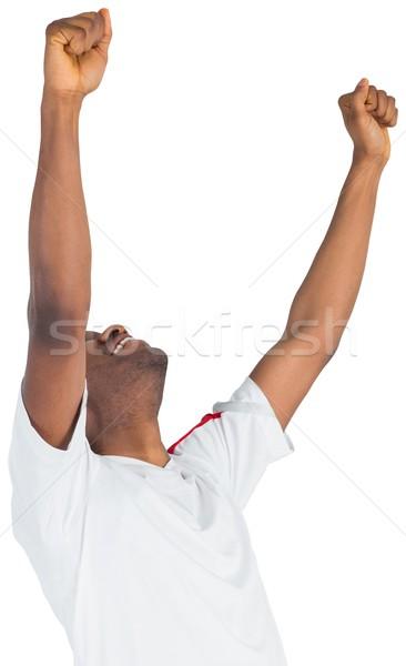 Aufgeregt gut aussehend Fußball Fan Jubel weiß Stock foto © wavebreak_media