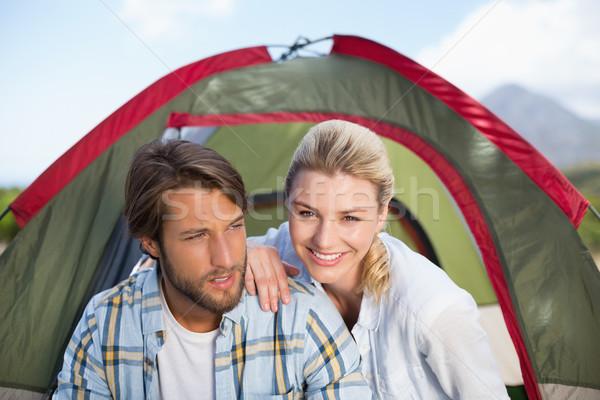 Vonzó boldog pár ül sátor mosolyog Stock fotó © wavebreak_media