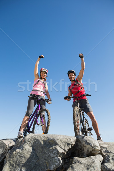 Geschikt fietser paar juichen vrouw Stockfoto © wavebreak_media
