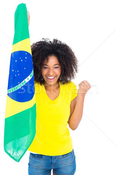Stock fotó: Csinos · lány · citromsárga · póló · tart · zászló